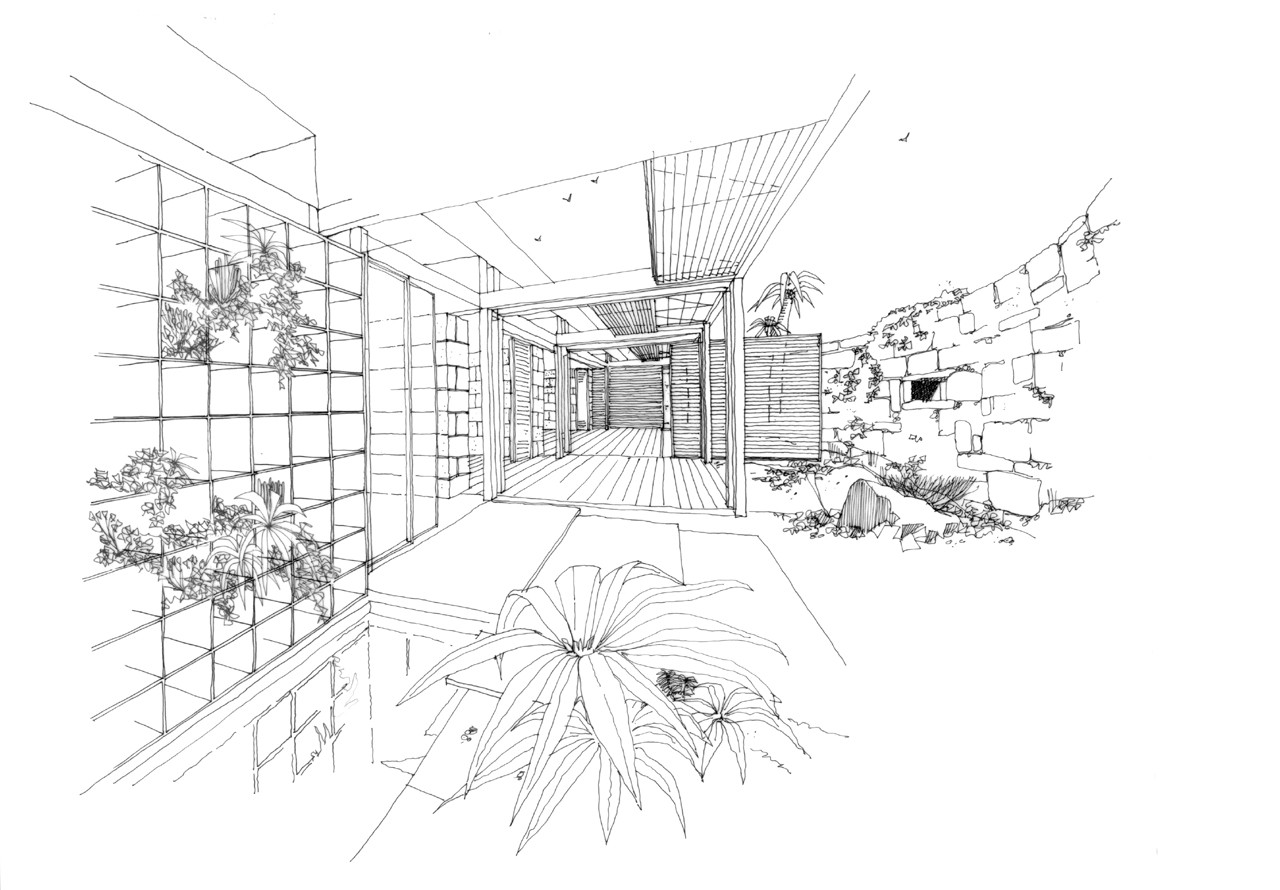drawing of the Bioclimatic House