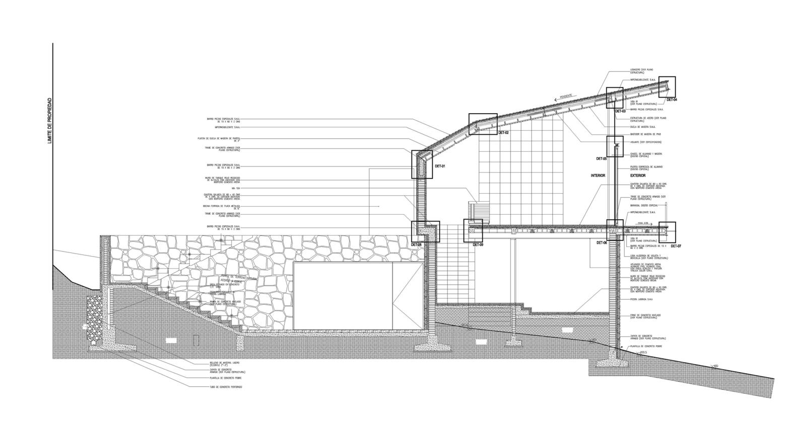 Casa en el bosque section drawing