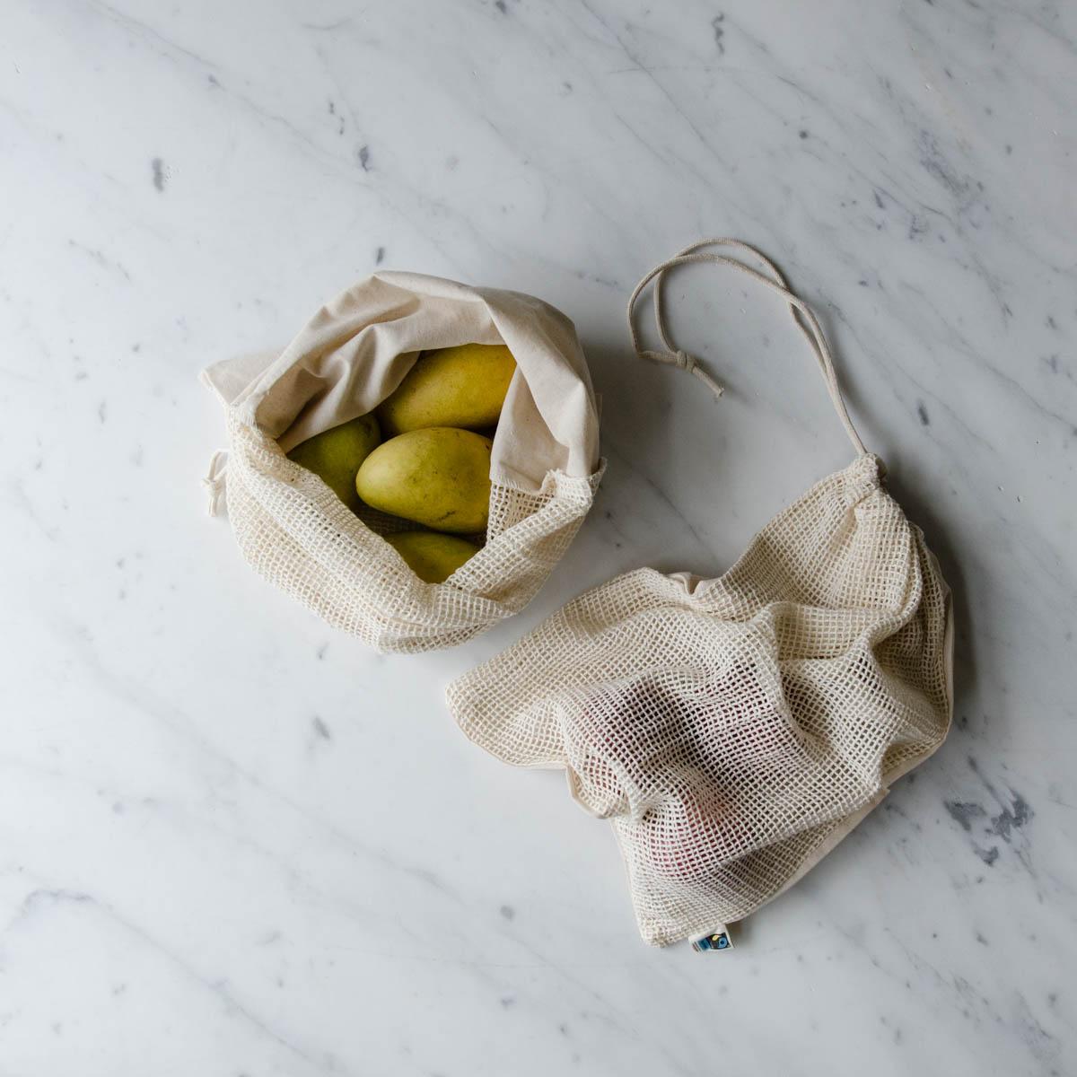 organic cotton produce bags flatlay